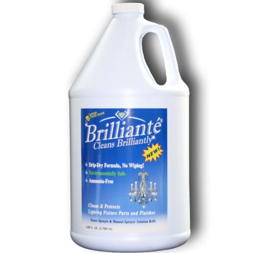 Brilliante Crystal Chandelier Cleaner 1 Gallon Refill Environmentally Safe, Ammonia-free, Drip-dry Formula, Made in USA