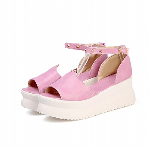 Carol Shoes Chic Womens Fashion Buckle Rivet Comfort Peep-toe Platforms Sandals Pink nHMqul2o