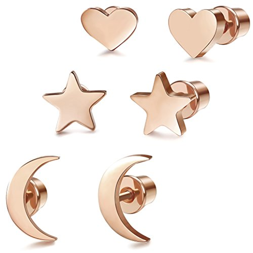 LOYALLOOK 3 Pairs Stainless Steel Moon Star and heart Plain Stud Earrings for Women and Girls Rose Gold Tone