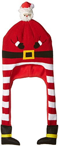 Wembley Mens Standard Holiday Christmas Beanie Hat with Ear Cover Legs, red, One Size