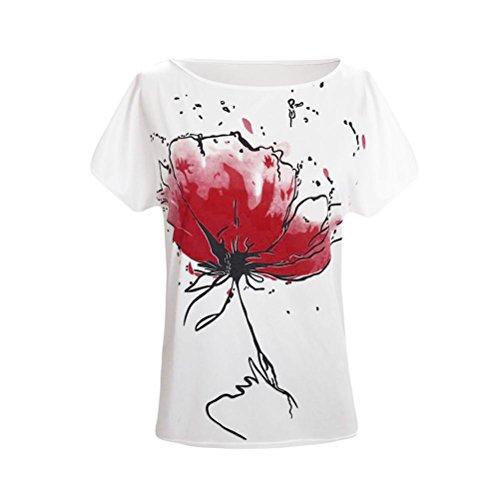 Shirt Estivi Bianco Corte Con Floreale Yanhoo T Donna In A Donna Top Maniche Corte A Camicia Eleganti Maniche Maglia Maglietta Stampa Cotone 70q1XX