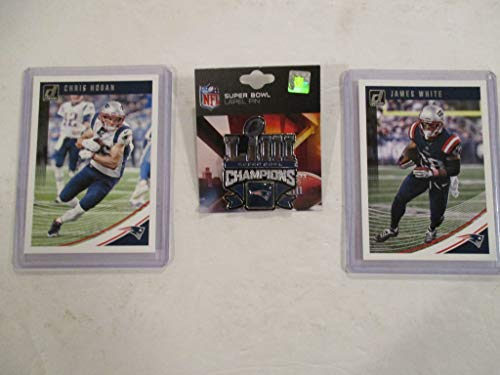 (NEW ENGLAND PATRIOTS SUPER BOWL 53 CHAMPIONS LAPEL PIN (NEW) PLUS 2 COLLECTIBLE PLAYER CARDS)