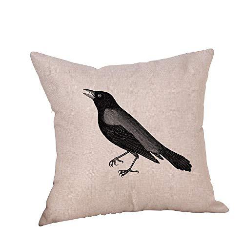 HGWXX7 Happy Halloween Pillow Covers Crow Print Linen