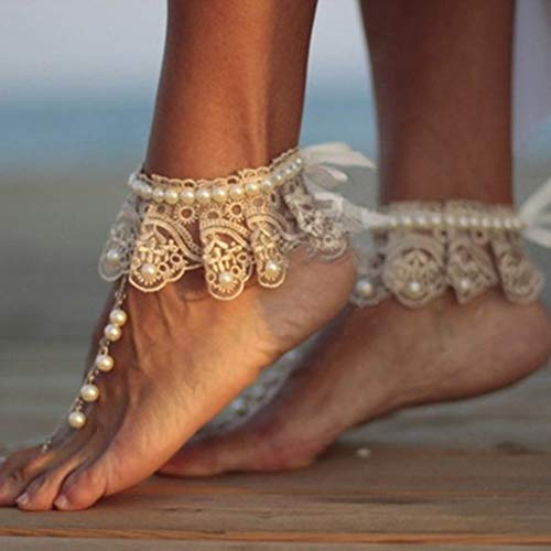 (Nicute Boho Pearl Anklet White Lace Ankle Bracelets Wedding Summer Barefoot Sandal Beach Foot Chain for Women and Girls (2 Pieces))