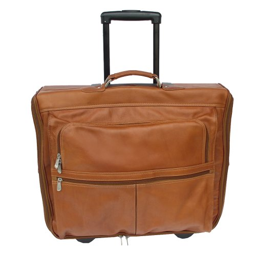 Piel Leather Garment Bag On Wheels, Saddle, One Size by Piel Leather