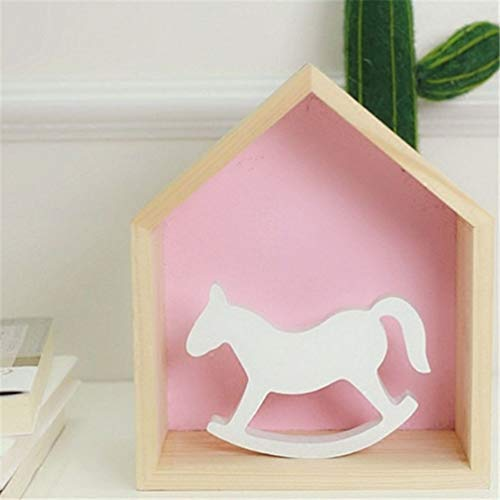 TUKURIO Home Sculpture White Wooden Rocking Horse Balance Kids Toys Carved Gifts Children's Room Decoration Crafts