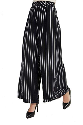 (Tronjori Women High Waist Casual Wide Leg Long Palazzo Pants Trousers(XS,Black White))