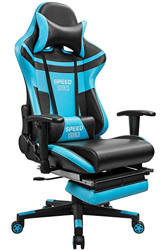 Furmax Gaming Chair High Back Racing Chair,Ergonomic Swivel Computer Chair Executive PU Leather Desk Chair With Footrest, Bucket Seat and Lumbar Support (Blue) - Over Executive Office Package