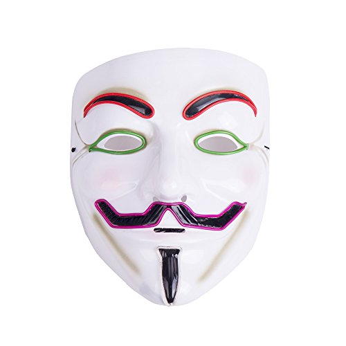Creative Luminous EL Wire V for Vendetta Led Mask Halloween Light Up Cosplay Mask Costume Fawkes Anonymous for Show Festival Party Halloween