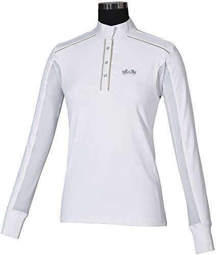 Equine Couture Ladies Rio Show Shirt (White/Silver, S)