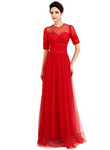 Azbro Mujer Vestido Largo de Fiesta sin Respaldo Media-manga Rojo