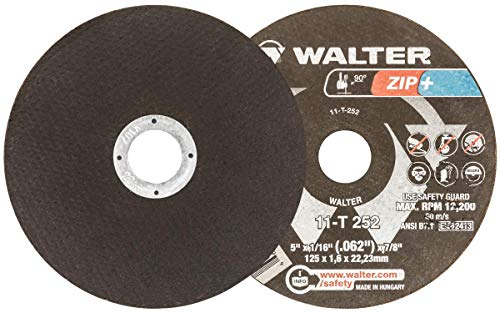 Rib Wheel - Walter ZIP+ XTRA Cut-off Wheel [Pack of 25] - Type 1, Aluminum Oxide Grit Cutting Wheel with Round Hole, Integrated Rib Design
