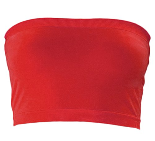 KMystic Stretch Seamless Tube Bra Bandeau Top (Plus Size, Red)