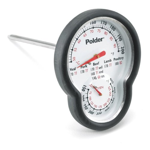 Polder 12453 Dual Sensor In-Oven Thermometer, Stainless Steel with Easy-to-Read Face and High-Heat (Polder Oven Thermometer)