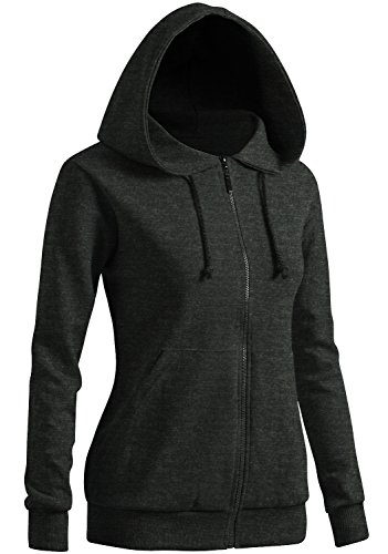 CLOVERY Women's Color Contrast Long Sleeve Hoodie Charcoal US S/Tag S