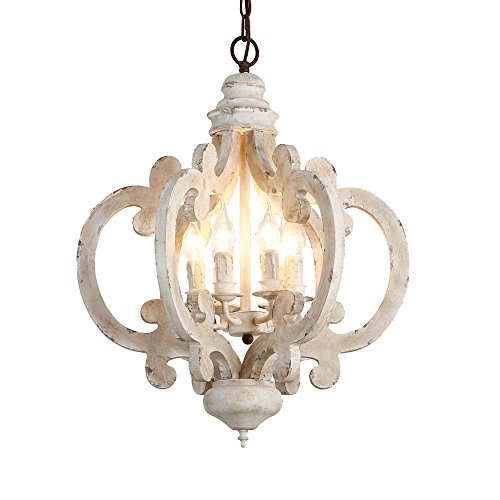 - Lovedima Rustic Vintage Iron Wooden Chandelier 6-Light Candle Hanging Ceiling Light in Distressed White