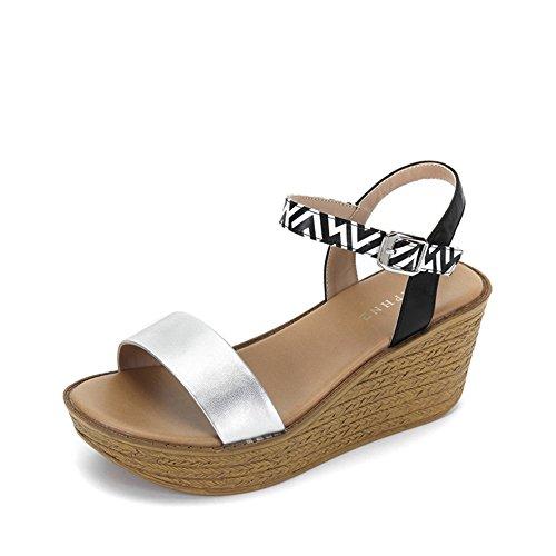 Zapatos De Plataforma De La Moda Europea/Hebilla Geométrica De Patchwork Con Sandalias B