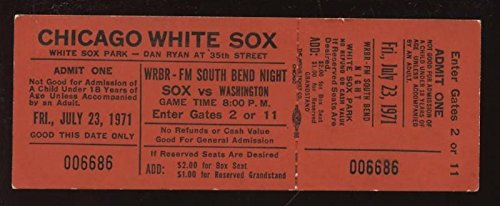 1971 Full Ticket Wash Senators @ Chicago White Sox Ex