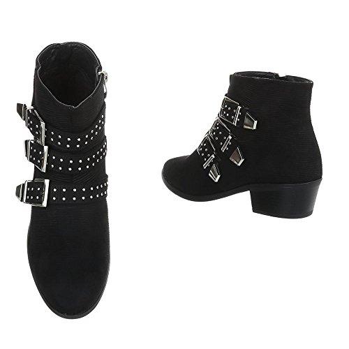 1 Ancho Negro A Botas Mujer 48 Chelsea Ital design Tacón Zapatos Para qw6TfT