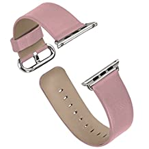 Apple Watch Band Series 1/Series 2, iitee Genuine Leather Strap Band for Apple Smart Watch Replacement with Metal Buckle (42mm pink)