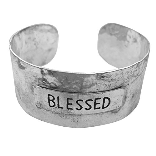 Gypsy Jewels Simple Hammered Cuff Bracelet (Blessed Silver Tone) ()
