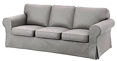 The Heavy Cotton Ektorp 3 Seat Sofa Cover Replacement Is Custom Made for IKea Ektorp Sofa Cover, An Ektorp Sofa Slipcover Replacement. Light Gray