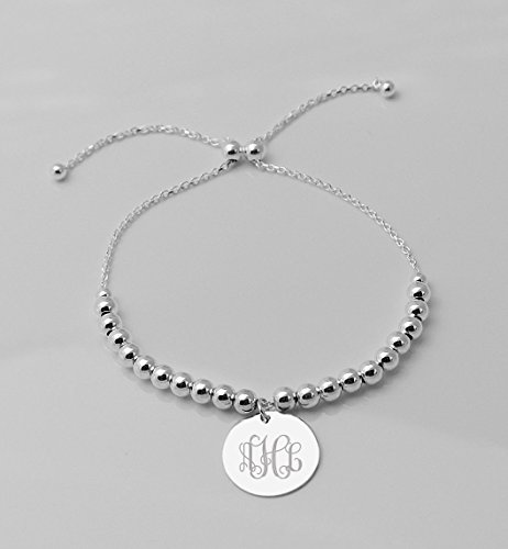 Personalized Sterling Silver Circle Charm Bracelet .925 Custom Engraved Free (Engrave Front & Back)