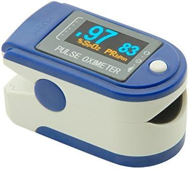 Andon CMS50D2 - Andon Cms50D2 - Pulsioximetro (Oximetro De Pulso Digital Con Pantalla Oled, Monitor De Oxígeno Portátil, Muestra Spo 2, Monitor De Frecuencia Cardíaca) Azul Blanco
