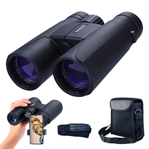 konpcoiu 12x42 Roof Prism Binoculars for Adults, Portable and Waterproof Compact Binoculars with Low Light Night Vision,BAK4 Prism FMC Lens HD Clear View for Bird Watching, Hunting, Travel, Concerts