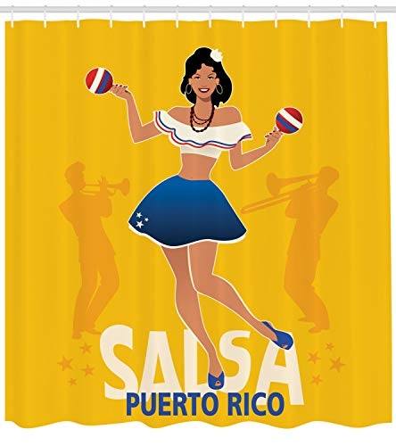 Lunarable Puerto Rico Shower Curtain, Salsa Dancing Girl with Maracas Trombonist and Trumpeter Silhouette on Backdrop, Cloth Fabric Bathroom Decor Set with Hooks, 70 inches, Multicolor