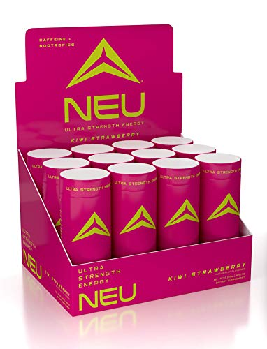 NEU Extra Strength Nootropic Energy Shots, Energy Drink: Brain Booster Focus Supplement, Coffee Alternative Nutritional Drink + Pre Workout with Zero Sugar - Kiwi Strawberry 2oz. (12 Pack)
