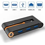 UPVICH USB C Hub,Laptop Docking Station with [HDMI 4K][VGA 1080P][RJ45 Ethernet][3 USB 3.0][PD Power Charge] Ports Compatible Smart Phone,Nintendo Switch,MacBook Pro and More USB Type C Device