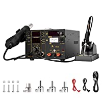 GWELL 3 In 1 Soldering Station Hot Air Gun Solder Iron DC Power Supply Digital Kit for Modifying Board Repair SMD Prototypes Fixing Electronics