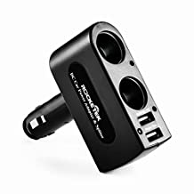 [ Safe Upgraded ] Rocketek® 3.1A/15.5W Dual USB Car Charger Adapter with 2 Socket Cigarette Lighter Adapter DC Outlet Car Splitter - Build-in 10A Fuse Car Socket Adapter