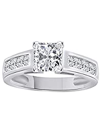 Princess Cut White Cubic Zirconia Solitaire Engagement Ring In 14K White Gold Over Sterling Silver (2.45 Ct)