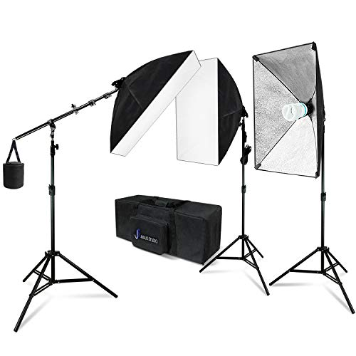 Julius Studio 20 x 28 Inch Soft Box Lighting Kit with Bulb Socket, Boom Stand and Slope Arm Bar, 1200W Output Softbox Light for Video Camera Photography, Photo Portrait Studio, JSAG394