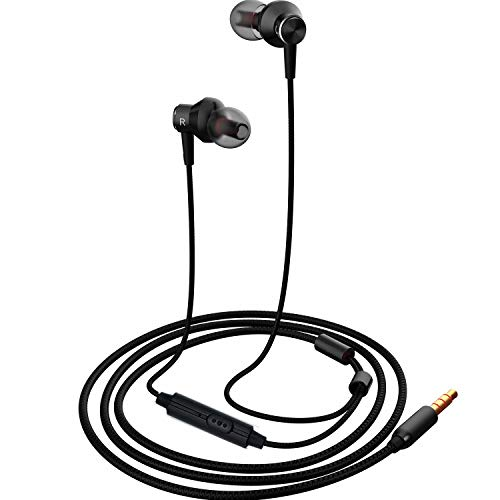 Earbuds Heaphones,Comfortable&Tangle-Free Wired Hi-Fi in-Ear Running Headphone,Crystal Clear Sound Earphone for Smartphone/Samsung/iOS/Laptop/PC for Workout Sports Jogging Gym,Black