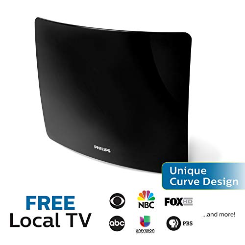 Philips Amplified TV Antenna, 50 Mile Range, Curved, Wall Mount, Stand, Home Décor, Digital, HDTV Antenna, Smart TV Compatible, 4K 1080P VHF UHF, 5Ft Coaxial Cable, Amplifier, Black, SDV9401A/27