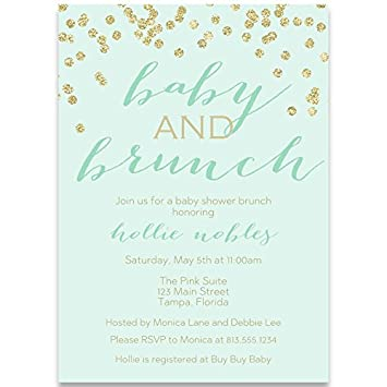 Baby Shower Invitations And Brunch Mint Gold Champagne Mimosa