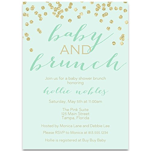 Baby Shower Invitations, Baby and Brunch, Mint, Gold, Champagne, Mimosa, Toast, Gender Neutral, Confetti, Glitter, Set of 10 Custom Printed Invites with White ()