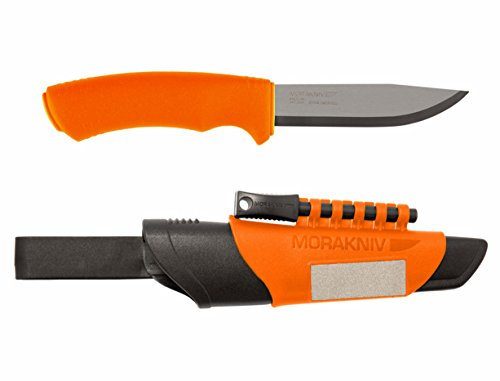 Morakniv Bushcraft Stainless Steel 4.3-Inch Fixed-Blade Survival Knife with Fire Starter and Sharpener, Orange