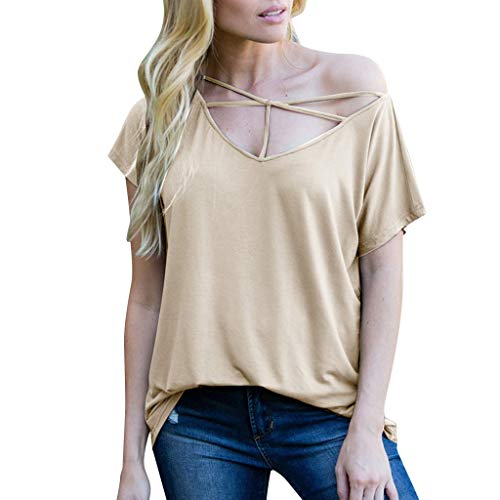(♞Deadness Fashion Loose Womens Cross Spaghetti V-Neck Short Sleeve Pure Color T-Shirt Casual Cold Shoulder Tops Blouse Beige)