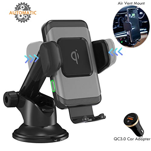 (Wefunix Wireless Car Charger-One Hand Operation, Auto Clamping Qi 10W/7.5W Fast Wireless Charging Car Mount Compatible with iPhone Xs Max/XR/X/8Plus/Samsung S10/S9+/S8/S7/Note9/8[Car Charger Included])