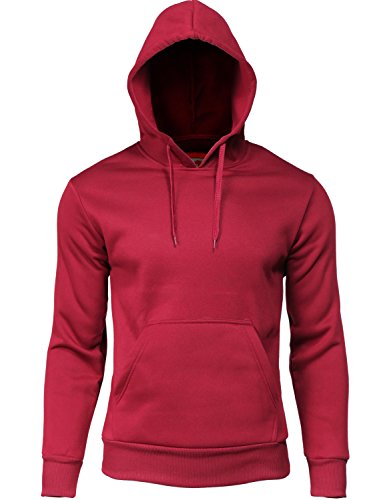 Warm Brushed Inner Fleece Kangaroo Pocket Hoodie Burgundy 2XL ()