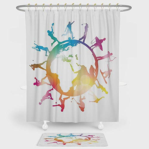 iPrint World Map Shower Curtain And Floor Mat Combination Set Golf Football Baseball Archery Basketball Players On Globe Picture For decoration and daily use Pink Orange Light Blue ()