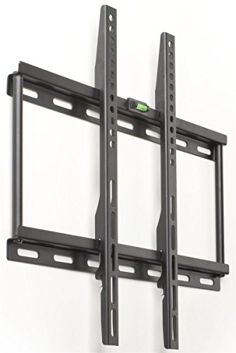 Low-Profile Wall Mount Brackets for 23 to 60 Flat Screen Monitors, Stationary, Steel (Black) - Set of 2
