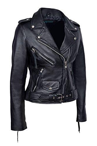 Mesdames Smart Range Brando Noir Chic et Casual Biker Style Fitted Réel Peau D'Agneau Cuir Veste Manteau - Femme souple Veste en Cuir Véritable