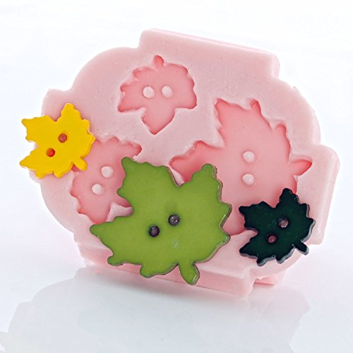 Maple Leaf Button Silicone Mold use with Fondant, Candy, Chocolate, Food Safe, Polymer Clay, Resin Mold, Epoxy Perfect Size for Earrings. (Button Epoxy)