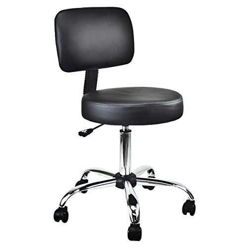 Cheap Salon Medical Drafting Stool with Back Cushion Tattoo Hydraulic Chair (Black)