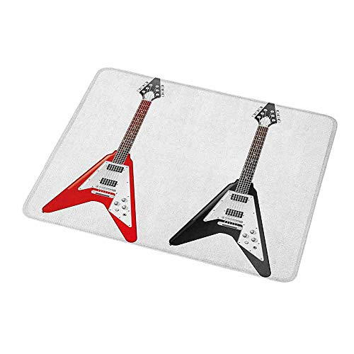 Gaming Mouse Pad Custom Design Mat Guitar,Musical Instrument with V Shaped Design Famous Rock and Roll Strings Creativity,Non-Slip Rubber Mousepad 9.8